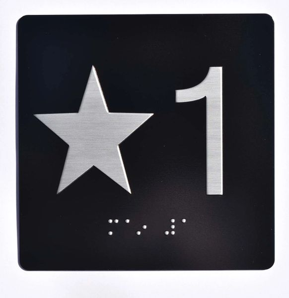 ELEVATOR JAMB- STAR 1 - BLACK (ALUMINUM SIGNS 4X4)- BRAILLE- The Sensation Line