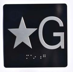 ELEVATOR JAMB- STAR G – BLACK (ALUMINUM SIGNS 4X4)- BRAILLE- The Sensation Line