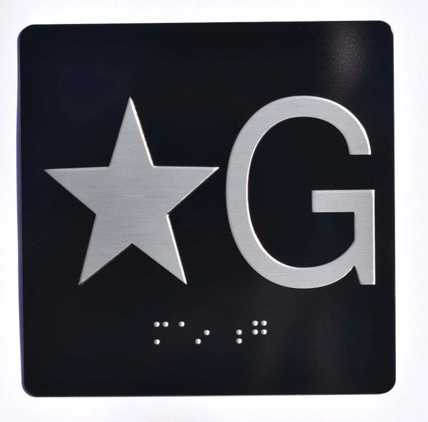 ELEVATOR JAMB- STAR G – BLACK (ALUMINUM SIGNS 4X4)- BRAILLE- The Sensation Line
