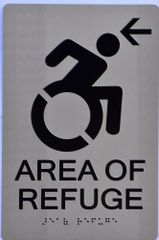 AREA OF REFUGE LEFT SIGN – SILVER (ALUMINUM SIGNS 9X6)