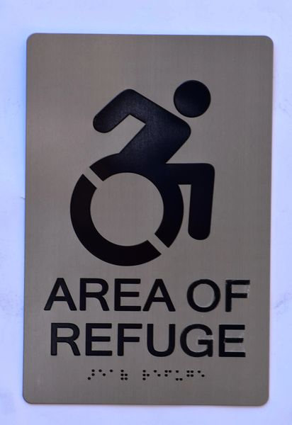 AREA OF REFUGE SIGN – SILVER (ALUMINUM SIGNS 9X6)
