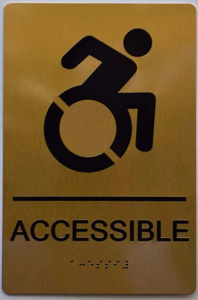 ACCESSIBLE SIGN - GOLD- BRAILLE (ALUMINUM SIGNS 9X6)- The Sensation Line