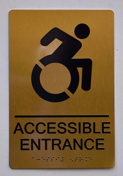 Accessible Entrance Directional Sign- GOLD- BRAILLE (ALUMINUM SIGNS 9X6)- The Sensation Line