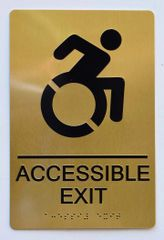 ACCESSIBLE EXIT Sign - GOLD- BRAILLE (ALUMINUM SIGNS 9X6)- The Sensation Line