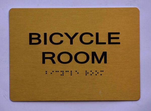 BICYCLE ROOM SIGN- GOLD- BRAILLE (ALUMINUM SIGNS 5X7)- The Sensation Line