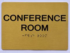 CONFERENCE ROOM Sign- GOLD- BRAILLE (ALUMINUM SIGNS 5X7)- The Sensation Line