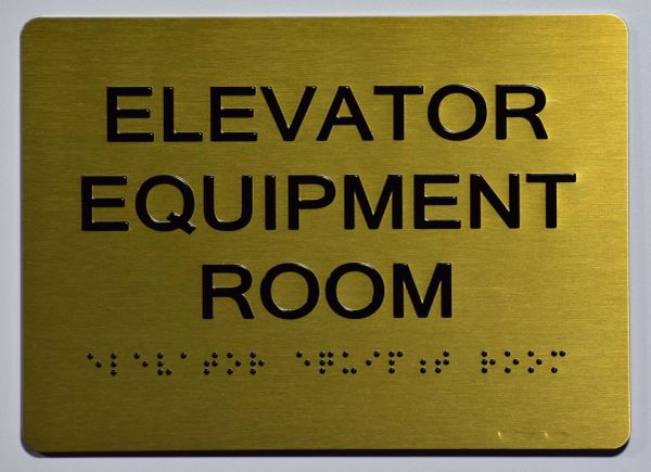 Elevator Equipment Room SIGN- GOLD- BRAILLE (ALUMINUM SIGNS 5X7)- The Sensation Line