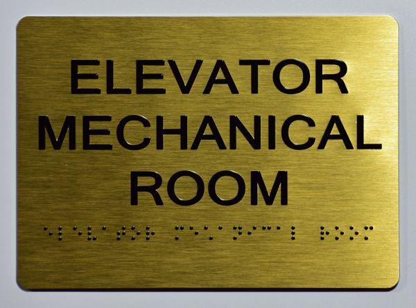 ELEVATOR MECHANICAL ROOM Sign- GOLD- BRAILLE (ALUMINUM SIGNS 5X7)- The Sensation Line