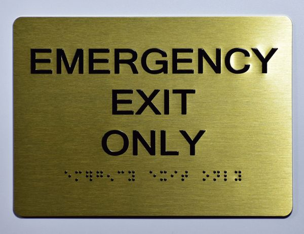 Emergency EXIT ONLY SIGN- GOLD- BRAILLE (ALUMINUM SIGNS 5X7)- The Sensation Line