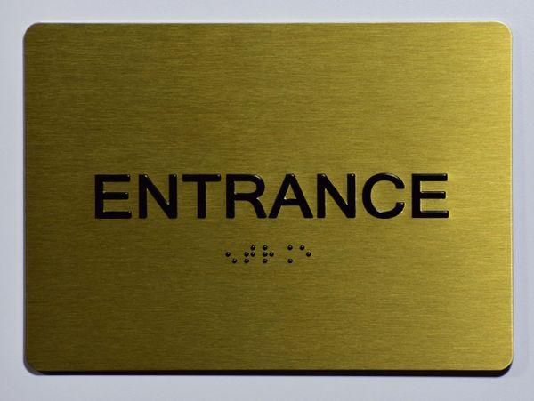 ENTRANCE SIGN- GOLD- GOLD- BRAILLE (ALUMINUM SIGNS 5X7)- The Sensation Line