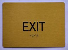 EXIT SIGN- GOLD- BRAILLE (ALUMINUM SIGNS 5X7)- The Sensation Line