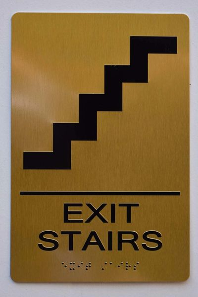 EXIT STAIRS SIGN- GOLD- BRAILLE (ALUMINUM SIGNS 9X6)- The Sensation Line