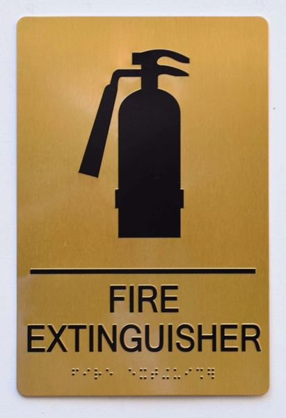 FIRE EXTINGUISHER SIGN-GOLD- BRAILLE (ALUMINUM SIGNS 9X6)- The Sensation Line