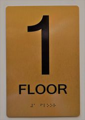 1ST FLOOR SIGN- GOLD- BRAILLE (ALUMINUM SIGNS 9X6)- The Sensation Line