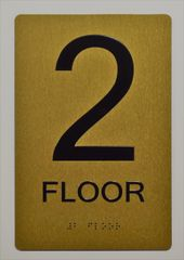 2ND FLOOR SIGN- GOLD-- BRAILLE (ALUMINUM SIGNS 9X6)- The Sensation Line