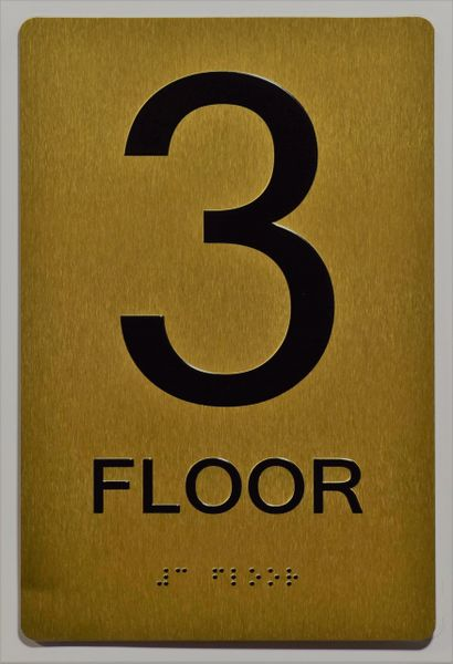 3rd FLOOR SIGN- GOLD- BRAILLE (ALUMINUM SIGNS 9X6)- The Sensation Line