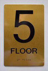 5th FLOOR SIGN- GOLD- BRAILLE (ALUMINUM SIGNS 9X6)- The Sensation Line