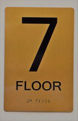 7th FLOOR SIGN- GOLD- BRAILLE (ALUMINUM SIGNS 9X6)- The Sensation Line