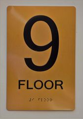 9th FLOOR SIGN- GOLD- BRAILLE (ALUMINUM SIGNS 9X6)- The Sensation Line