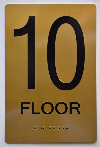 10th FLOOR SIGN- GOLD- BRAILLE (ALUMINUM SIGNS 9X6)- The Sensation Line