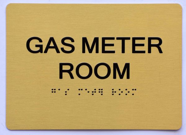 GAS METER ROOM SIGN- GOLD- BRAILLE (ALUMINUM SIGNS 5X7)- The Sensation Line