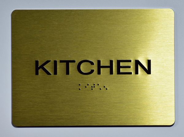 KITCHEN Sign-GOLD- BRAILLE (ALUMINUM SIGNS 5X7)- The Sensation Line