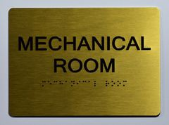 Mechanical Room Sign- GOLD- BRAILLE (ALUMINUM SIGNS 5X7)- The Sensation Line