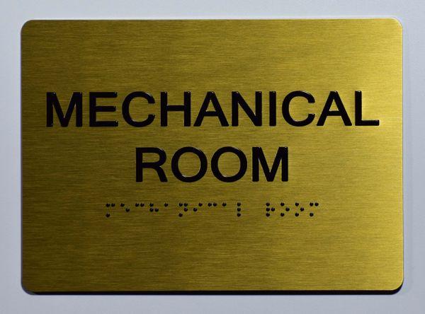 Mechanical Room Sign- GOLD- BRAILLE (ALUMINUM SIGNS 5X7)- The Sensation Line