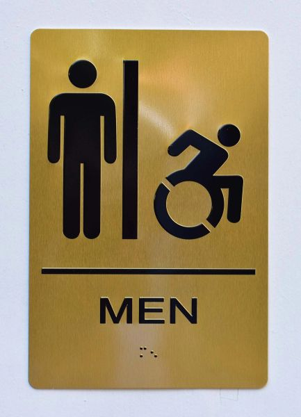 MEN ACCESSIBLE RESTROOM SIGN- GOLD- BRAILLE (ALUMINUM SIGNS 9X6)- The Sensation Line