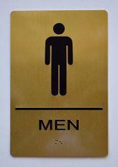 MEN RESTROOM Sign- GOLD- BRAILLE (ALUMINUM SIGNS 9X6)- The Sensation Line