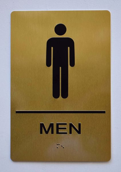 MEN RESTROOM Sign- GOLD- BRAILLE (ALUMINUM SIGNS 9X6)- The Sensation Line