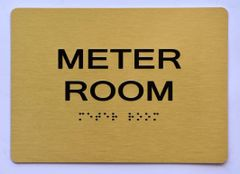 Meter Room SIGN- GOLD- BRAILLE (ALUMINUM SIGNS 5X7)- The Sensation Line