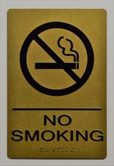 NO SMOKING SIGN- GOLD- BRAILLE (ALUMINUM SIGNS 9X6)- The Sensation Line