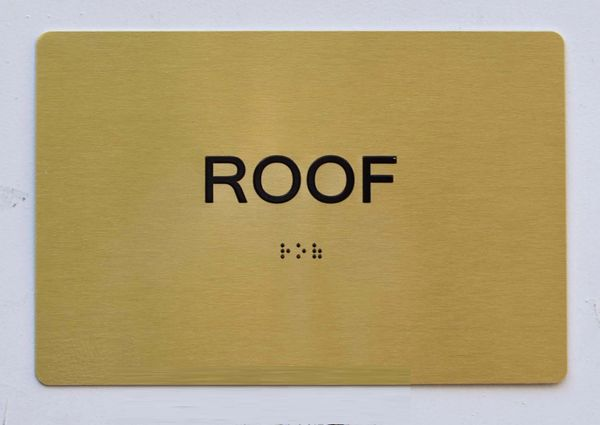 ROOF SIGN - GOLD- BRAILLE (ALUMINUM SIGNS 5X7) - The Sensation Line