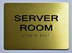 Server Room SIGN - GOLD- BRAILLE (ALUMINUM SIGNS 5X7)- The Sensation Line
