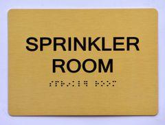 Sprinkler Room SIGN- GOLD- BRAILLE (ALUMINUM SIGNS 5X7)- The Sensation Line