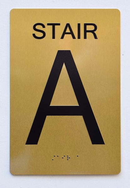 STAIR A SIGN- GOLD- BRAILLE (ALUMINUM SIGNS 9X6)- The Sensation Line