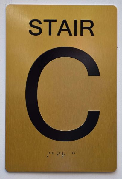 STAIR C SIGN- GOLD- BRAILLE (ALUMINUM SIGNS 9X6)- The Sensation Line
