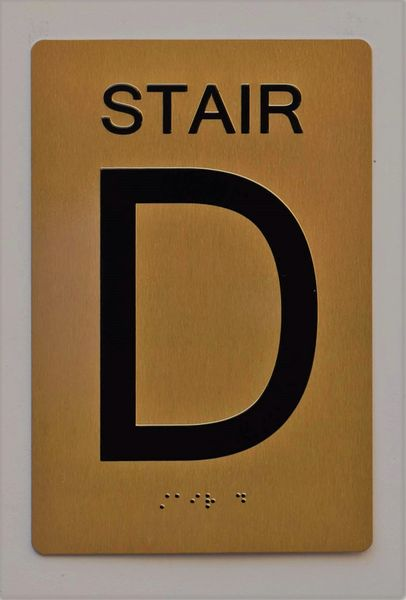 STAIR D SIGN- GOLD- BRAILLE (ALUMINUM SIGNS 9X6)- The Sensation Line