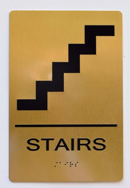 Stairs SIGN- GOLD- BRAILLE (ALUMINUM SIGNS 9X6)- The Sensation Line