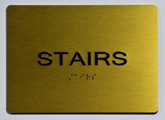 Stairs SIGN- GOLD- BRAILLE (ALUMINUM SIGNS 5X7)- The Sensation Line
