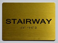 Stairway SIGN- GOLD- BRAILLE (ALUMINUM SIGNS 5X7)- The Sensation Line
