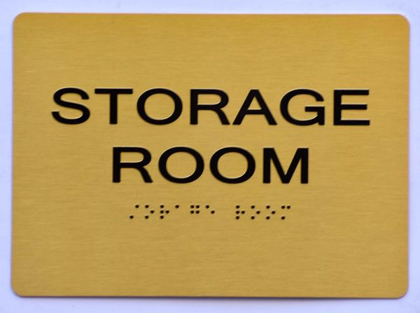 STORAGE ROOM SIGN- GOLD- BRAILLE (ALUMINUM SIGNS 5X7)- The Sensation Line