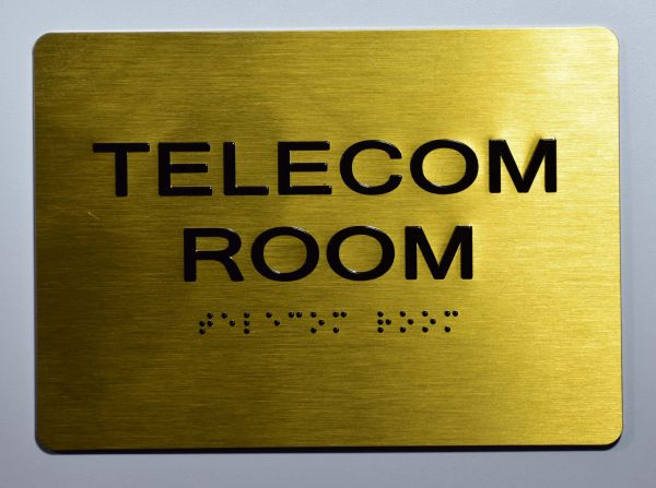 TELECOM ROOM Sign- GOLD- BRAILLE (ALUMINUM SIGNS 5X7)- The Sensation Line