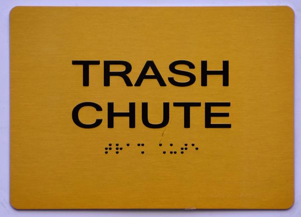 TRASH CHUTE SIGN- GOLD- BRAILLE (ALUMINUM SIGNS 5X7)- The Sensation Line