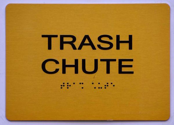 TRASH CHUTE SIGN- GOLD- BRAILLE (ALUMINUM SIGNS 5X7)- The Sensation Line