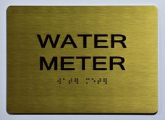 WATER METER SIGN- GOLD- BRAILLE (ALUMINUM SIGNS 5X7)- The Sensation Line
