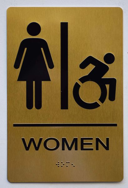 WOMEN ACCESSIBLE RESTROOM Sign - GOLD- BRAILLE (ALUMINUM SIGNS 9X6)- The Sensation Line