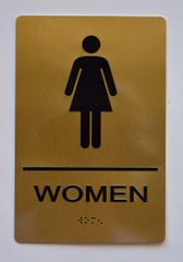 WOMEN Restroom Sign- GOLD- BRAILLE (ALUMINUM SIGNS 9X6)- The Sensation Line