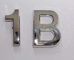 z- APARTMENT, DOOR AND MAILBOX LETTER 1B SIGN - LETTER SIGN 1 B- SILVER (HIGH QUALITY PLASTIC DOOR SIGNS 0.25 THICK)